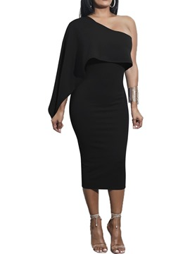 Ericdress Long Sleeve Mid-Calf Asymmetric Women's Bodycon Dress