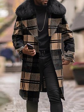 Ericdress Lapel Plaid Long Winter European Men's Coat