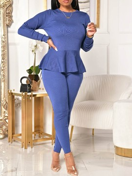 Ericdress Sexy Lace-Up Plain Pullover Round Neck Women's Two Piece Sets