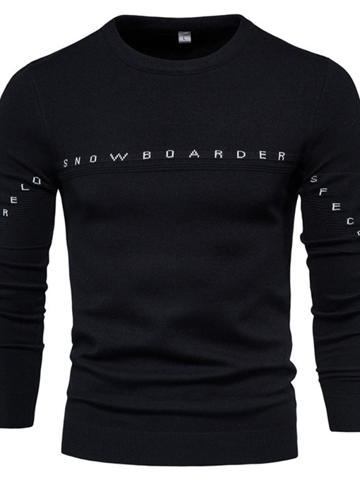 Ericdress Round Neck Standard Letter Winter Men's Slim Sweater