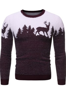 Ericdress Rundhalsausschnitt Standard Animal Winter Slim Sweater