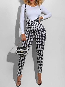 Ericdress Strap Casual Houndstooth Pencil Pants Pullover Women's Two Piece Sets