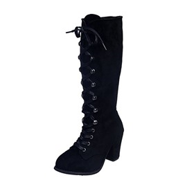 Ericdress Lace-Up Front Plain Round Toe Sexy Boots