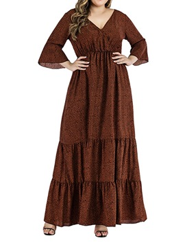 Ericdress Floor-Length V-Neck Three-Quarter Sleeve Pullover Women's A-Line Dress