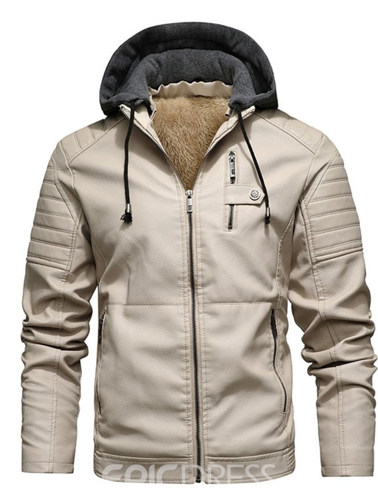 Ericdress Hooded Standard Slim Vintage Leather Men's Jacket