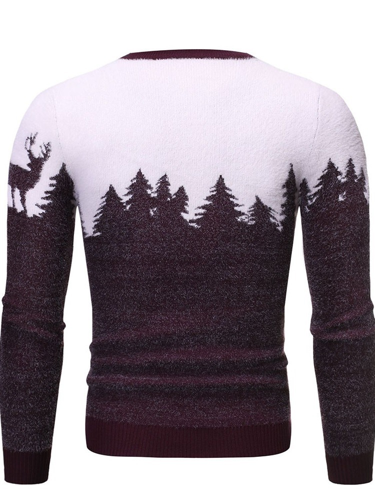 Ericdress Round Neck Standard Animal Winter Men's Slim Sweater