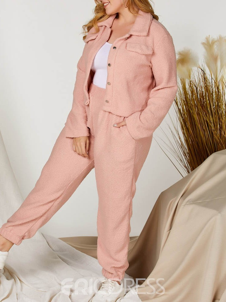 Ericdress Fashion Jacket Plain Straight Single-Breasted Women's Two Piece Sets
