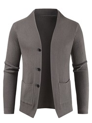 Ericdress Plain Pocket V-Neck Casual Single-Breasted Mens Sweater