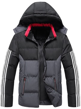 Ericdress Color Block Patchwork Stand Collar Casual Zipper Men's Down Jacket
