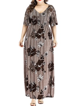 Ericdress Half Sleeve Print Floor-Length Western Floral Women's Dress