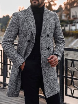 Ericdress Mid-Length Notched Lapel Winter Double-Breasted Men's Coat