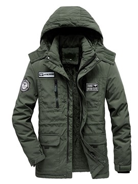 Ericdress Standard Letter Appliques Zipper Casual Men's Down Jacket