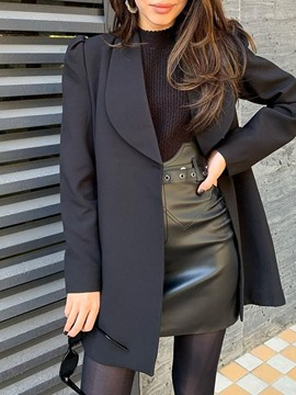 Ericdress Plain Notched Lapel Long Sleeve Fall Mid-Length Casual Women's Blazer