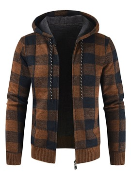 Ericdress Standard Plaid Hooded Men's Slim Fall Sweater