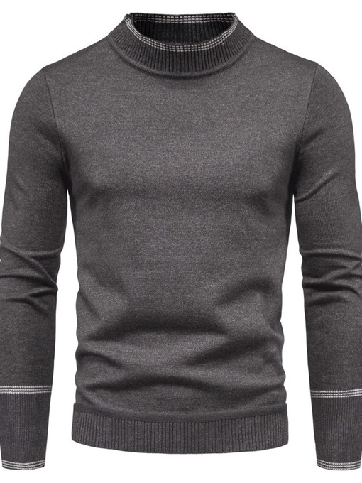 Ericdress Standard Color Block Stand Collar Men's Slim Casual Sweater