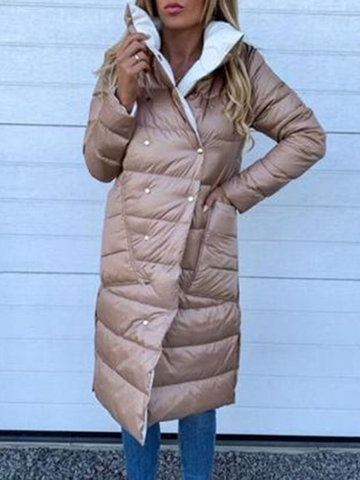 Ericdress Button Straight Double-Breasted Long Cotton Padded Women's Jacket