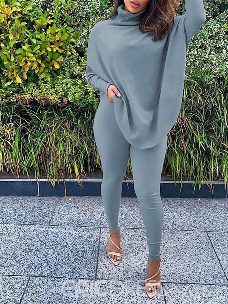 Ericdress Plain Sweater Casual Turtleneck Pullover Two Piece Sets