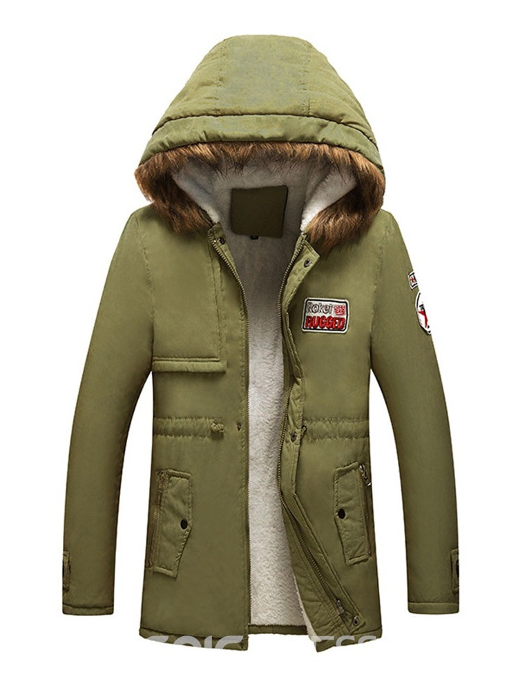 Ericdress Hooded Letter Standard Zipper Casual Men's Down Jacket