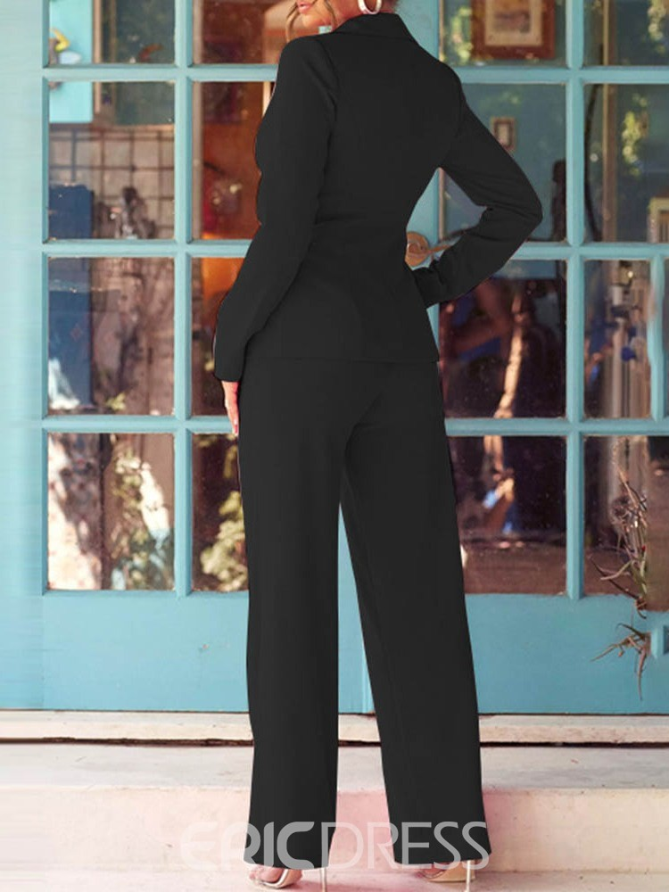 Ericdress Plain Wear to Work Coat Notched Lapel Straight Two Piece Sets