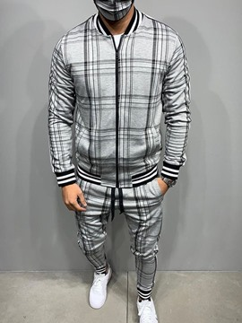 Ericdress Plaid Casual Patchwork Men's Spring Outfit