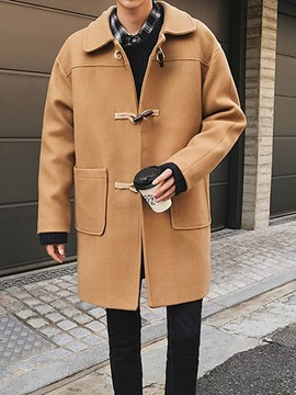 Ericdress Plain Mid-Length Lapel Korean Straight Men's Coat