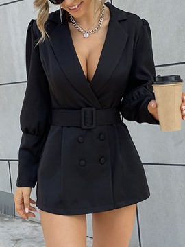 Ericdress Long Sleeve Plain Notched Lapel Regular Mid-Length Casual Women's Blazer