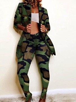 Ericdress Camouflage Coat Casual Pencil Pants Notched Lapel Women's Two Piece Sets