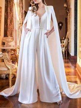 Ericdress Elegant Plain Cape Wide Legs Women's Two Piece Sets