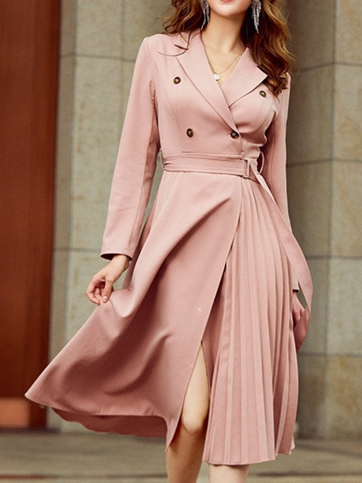 Ericdress Button Long Sleeve Mid-Calf Double-Breasted Sweet Women's Dress
