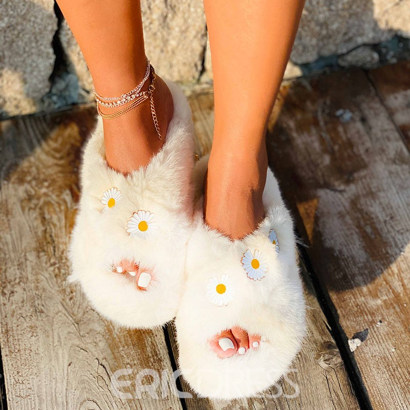 Ericdress Cross Slip-On Flat With Floral Slippers