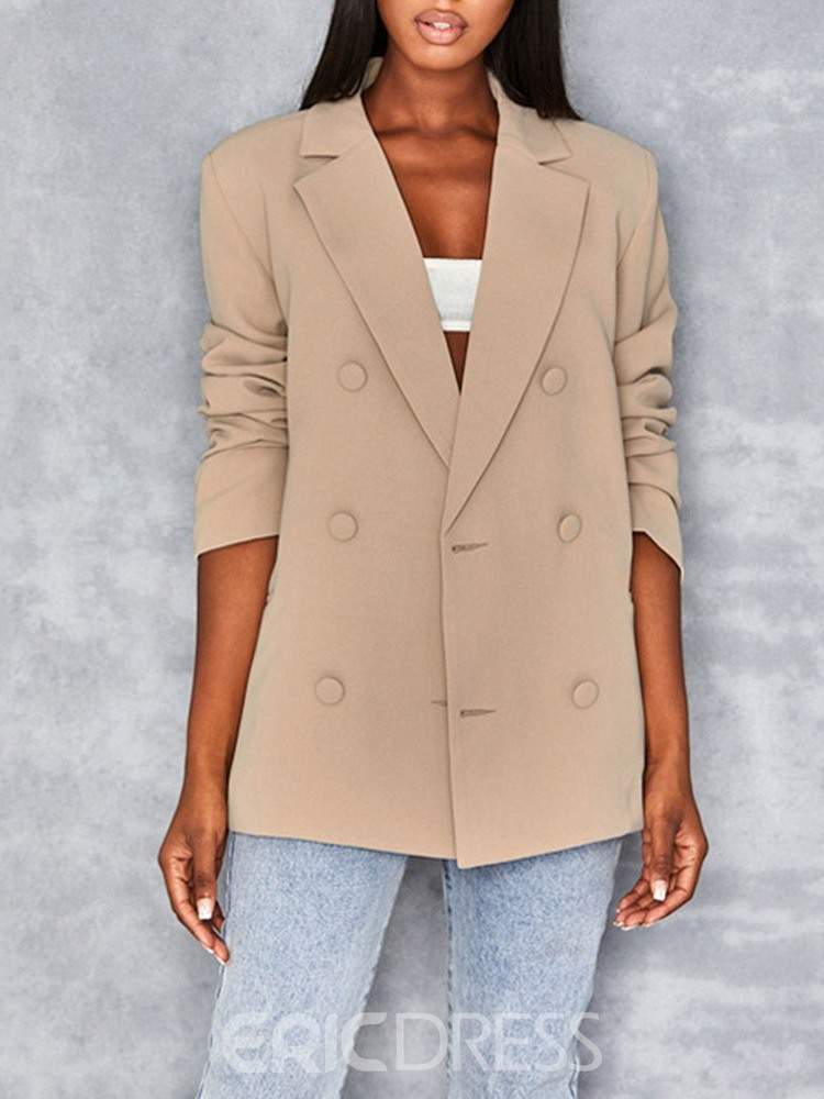 Ericdress Plain Long Sleeve Double-Breasted Mid-Length Regular Women's Casual Blazer