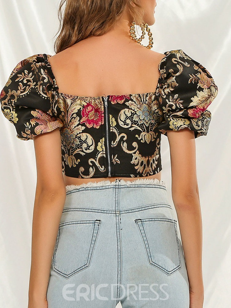 Ericdress Embroidery Floral Square Neck Short Sleeve Short Women's Blouse