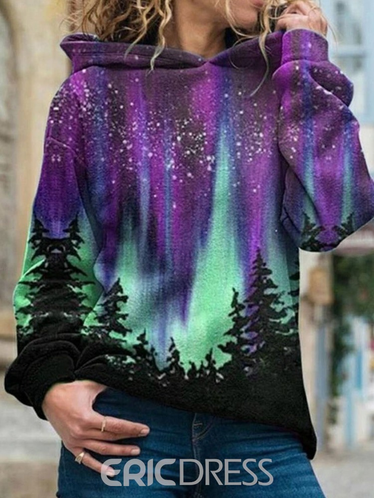 Ericdress Galaxy Print Regular Fleece Standard Women's Hoodie