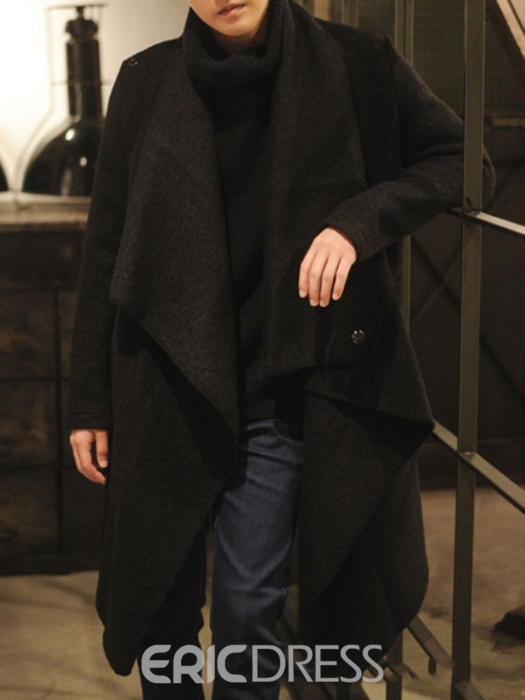 Ericdress Plain Long Fall Straight Men's Coat