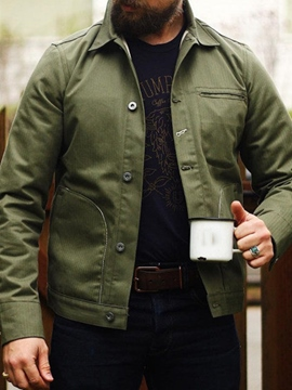 Ericdress Pocket Plain Lapel Fall Single-Breasted Men's Jacket