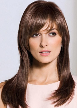 Ericdress Sexy Women's Long Length Slik Straight Human Hair Wigs With Bangs Capless Wigs 22Inch