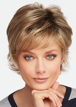 Ericdress Short Layered Hairstyles Women's Choppy Wavy Human Hair Capless Wigs 10Inch