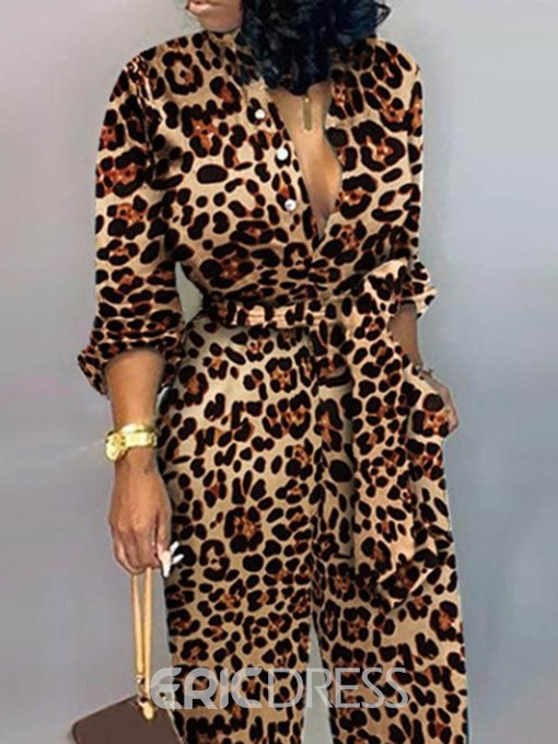 Ericdress Casual Leopard Lace-Up Straight Mid Waist Women's Jumpsuit