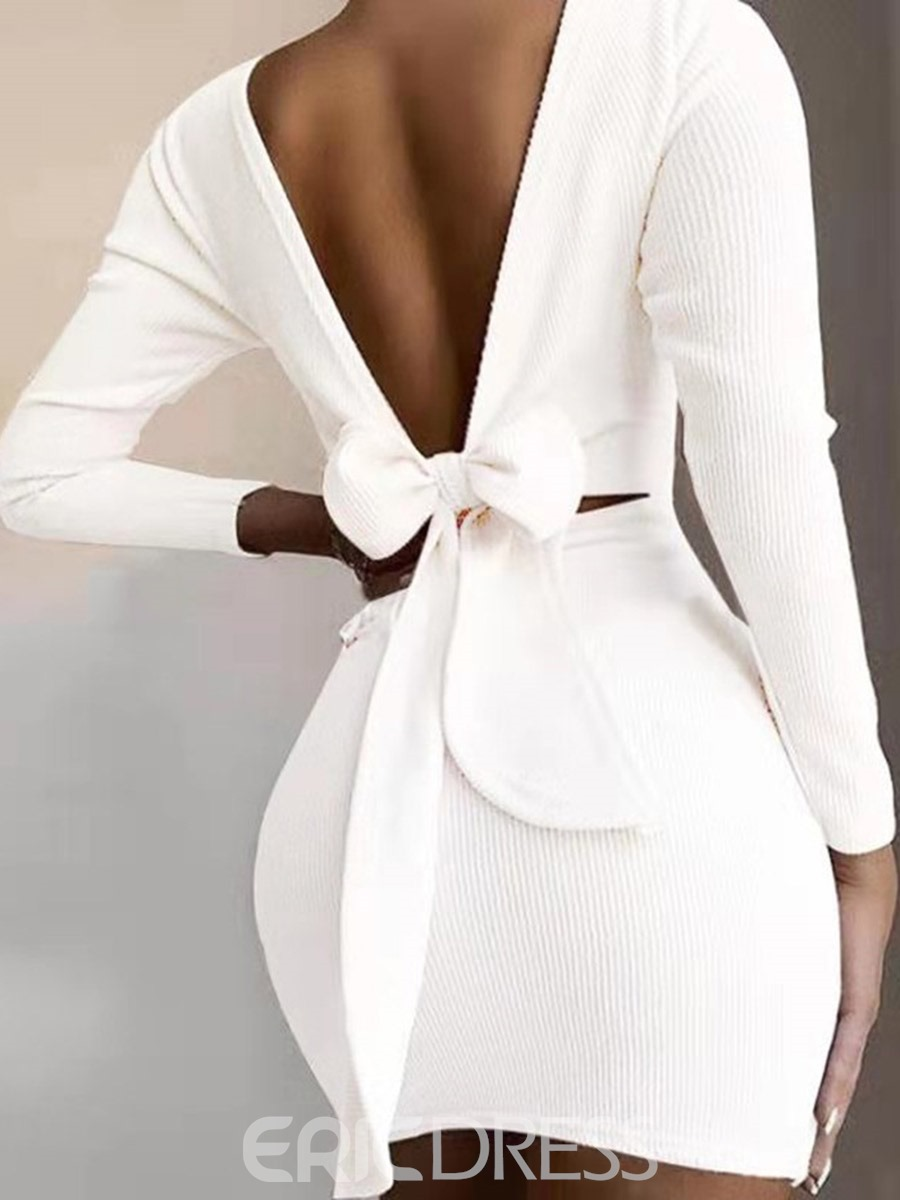 Ericdress Backless Long Sleeve Above Knee Sexy Women's Bodycon Dress