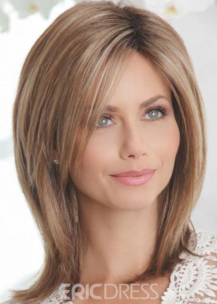 Ericdress Medium Shaggy Hairstyles Women's Mid-Part Straight Human Hair Capless Wigs 16Inch