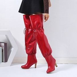 Ericdress Slip-On Round Toe Chunky Heel Lace-Up Boots