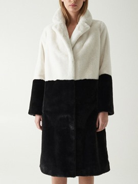 Ericdress Lapel Long Regular Hidden Button Straight Faux Fur Women's Overcoat