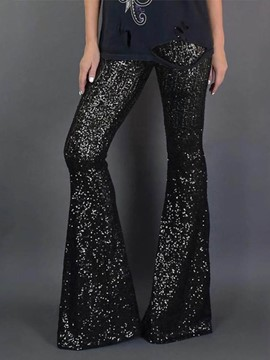 Ericdress Sequins Slim Plain Full Length Bellbottoms Women's Casual Pants