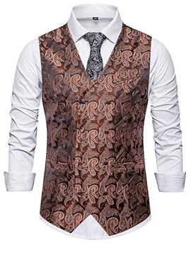 Ericdress Print V-Neck Floral Double-Breasted Fall Men's Waistcoat