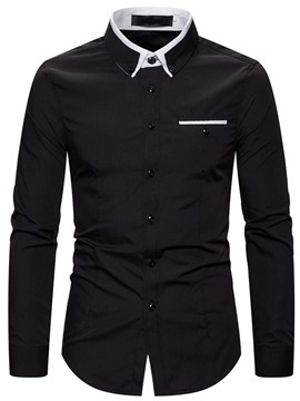 Ericdress Lapel Color Block Single-Breasted Men's Slim Shirt