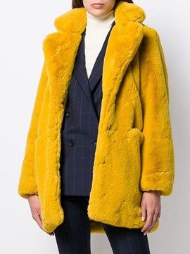 Ericdress Mid-Length Lapel Regular Hidden Button Women's Faux Fur Overcoat