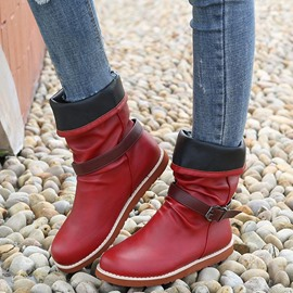 Ericdress Slip-On Round Toe Buckle Boots