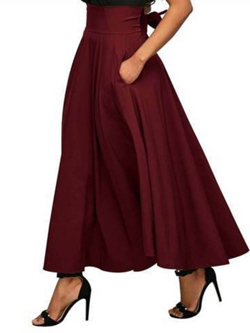 Ericdress Plain Ankle-Length Expansion High Waist Women's Sweet Skirt
