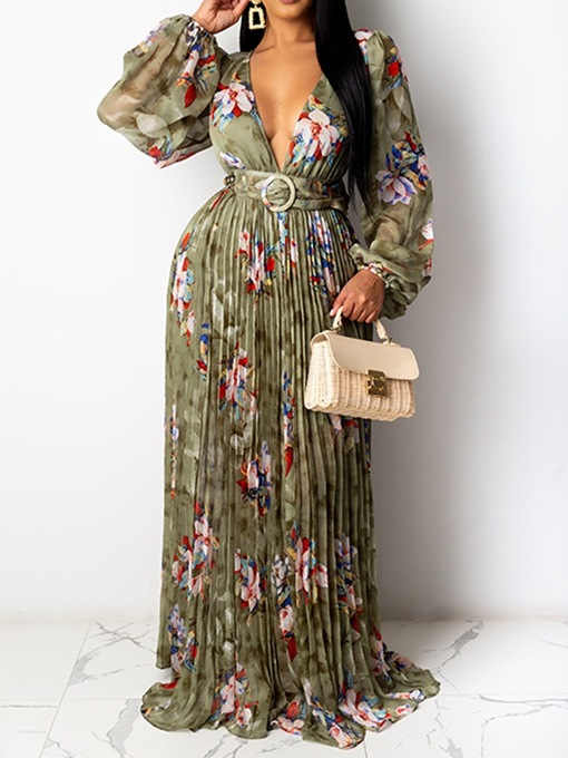 Ericdress Long Sleeve Floor-Length Print Pleated Women's Dress