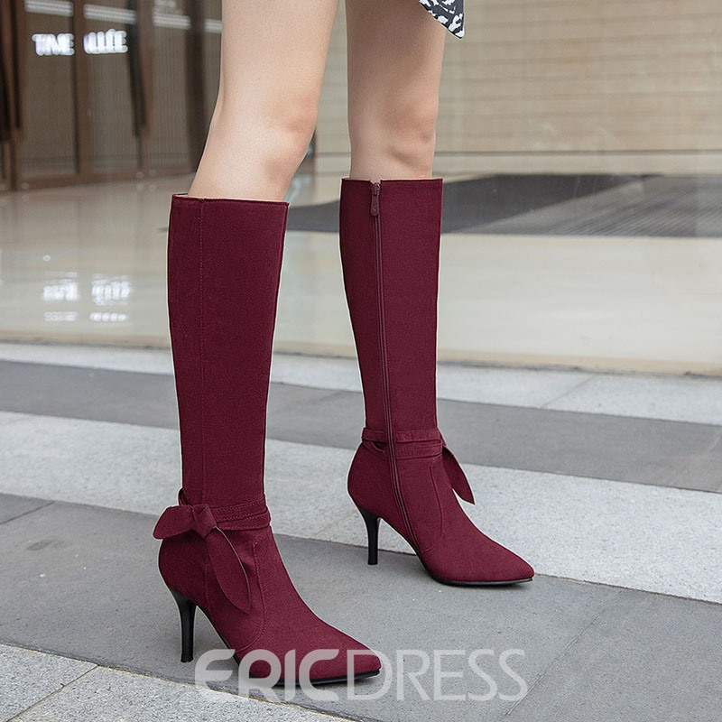 Ericdress Stiletto Heel Plain Pointed Toe Western Boots